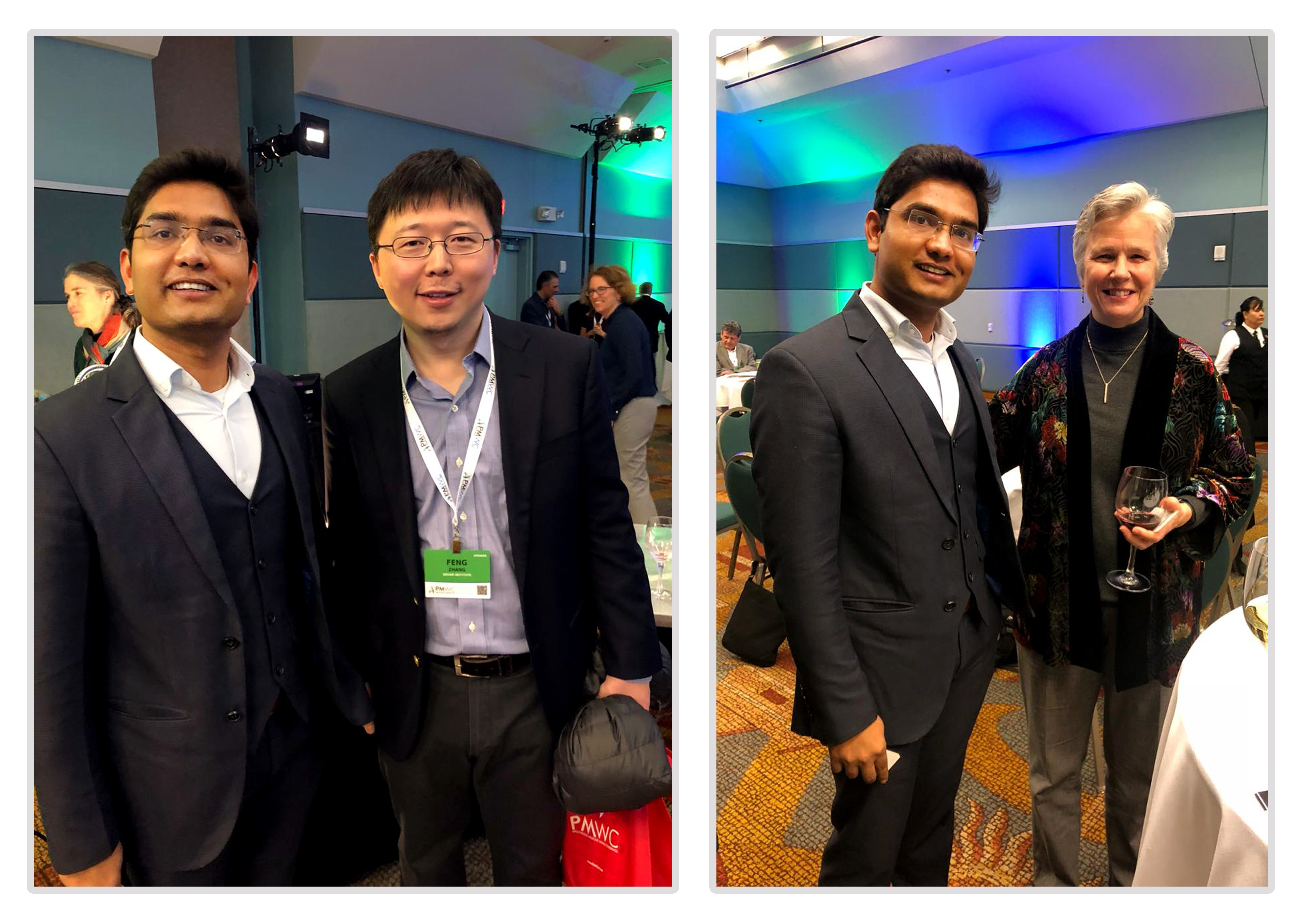 Picture 1: Faisal Ahmad, CEO BIS Research interacting with Feng Zheng (L) and Sharon Terry (R) regarding their work in precision medicine during the award gala.